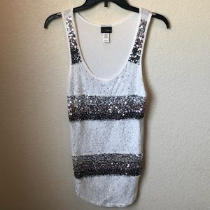 Silver and white sequin tank